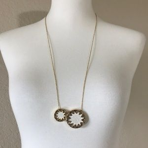 House of Harlow 1960 Gold Necklace w White Leather